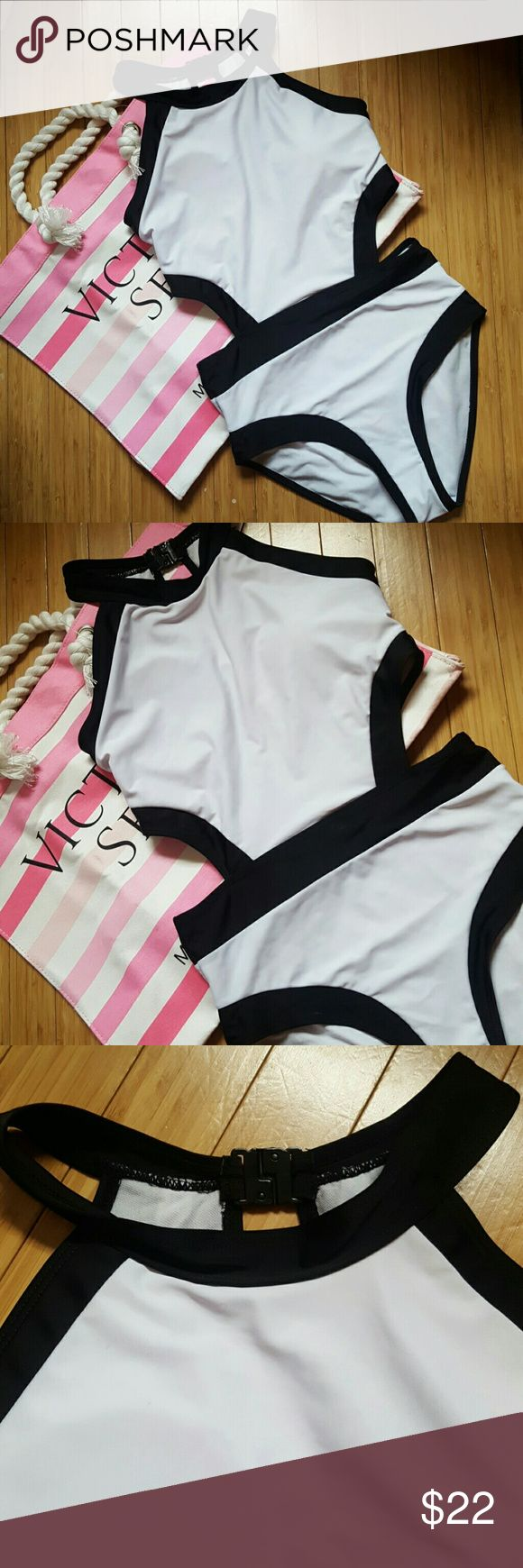 Sexy cut out color blocked swimsuit Halter style one piece swimsuit features side cut outs. Hook Snap back enclosure. Open key hole style back. Flattering white and black color blocked design. Fully lined. Bust has thin molded cups which are removable. Light stretch. Tag is labeled large but please read measurements! Fits more like a small/medium.   Waist 13 inches across. Bust measures 15 inches across. Neck to crotch 26 inches. Thigh opening 9 1/2 inches.  Sides are not sewn perfectly…