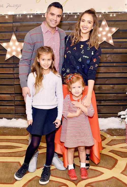 Jessica Alba and Cash Warren take their daughters Honor and Haven to the Baby2Baby Holiday Party on December 6, 2015