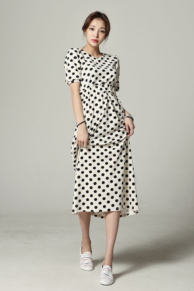 kpopsicle.com #fashion #style #kpop Lovely Polka Dot Long Dress - Dresses - Apparel - Genuine Korean style fashion from Korea