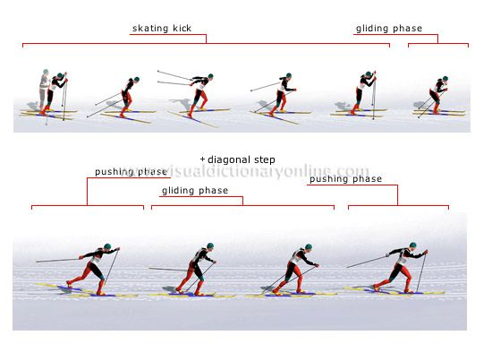 cross-country skiing: classic and skate style