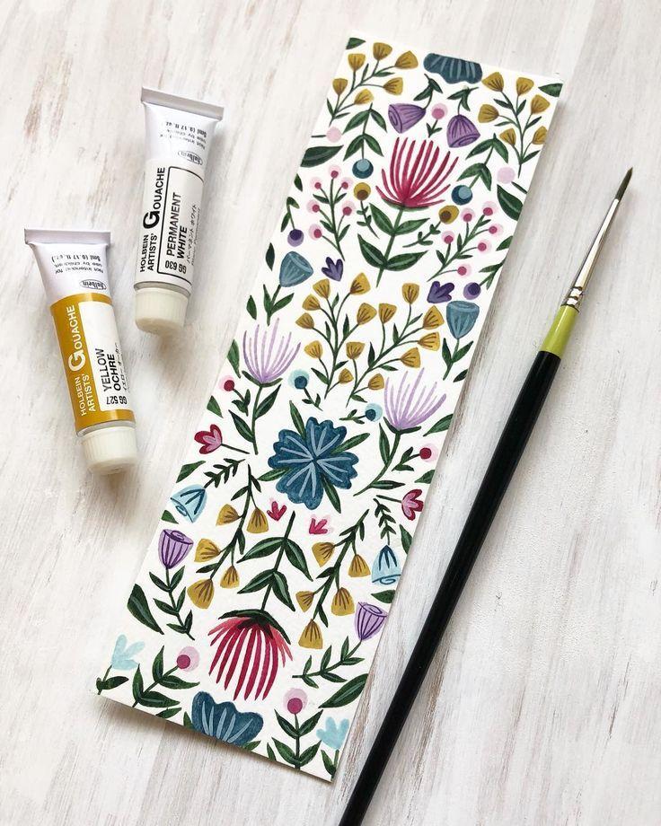 Ich habe dieses liebevolle Blumen-Lesezeichen letzte Woche in Gouache und Aquarell gemalt