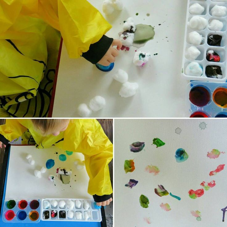 Paint and Cotton Wool 🎨 Miss 3 used watercolour paints and cotton wool to stamp multicolored prints on paper. She was interested in the way the cotton wool absorbed the watercolours and shrunk in size. She enjoyed mixing the paint colours together with the cotton wool and using her fingers to paint the cotton wool 🌈👋💗🎨 #sensoryart #sensoryplay #art #artmatters #colours #science #scienceplay #painting #colourmixing #earlychildhood #earlychildhoodeducation #kidscrafts101  #earlylearning…
