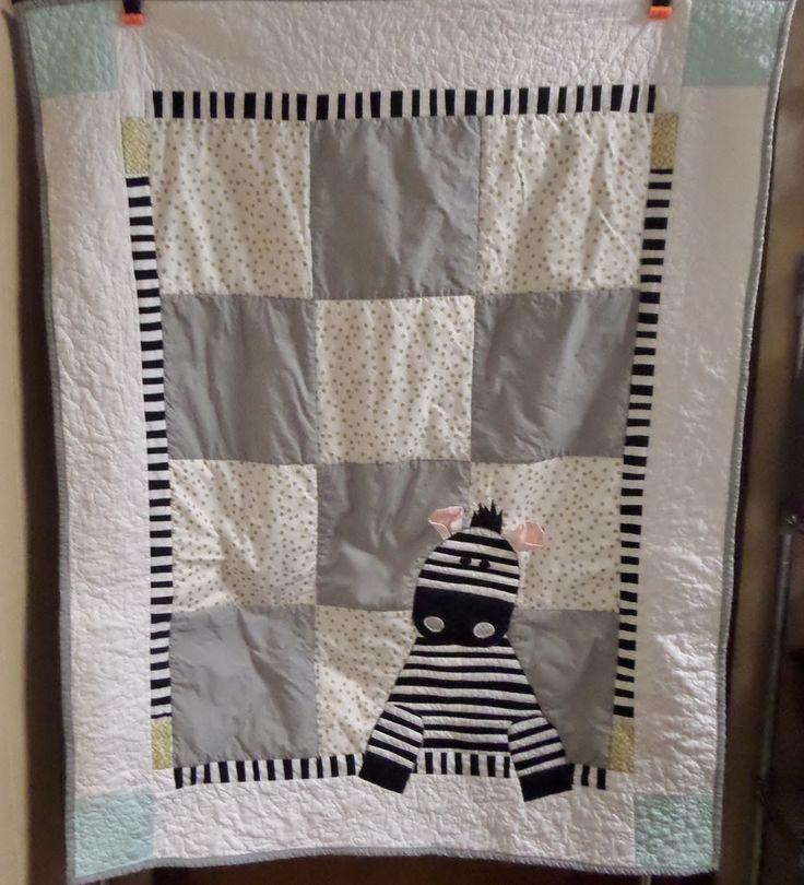 Ready to ship - Safari animals zebra baby crib quilt - Gender neutral blanket - Homemade baby bedding item - Nursery quilt by createdbymammy on Etsy
