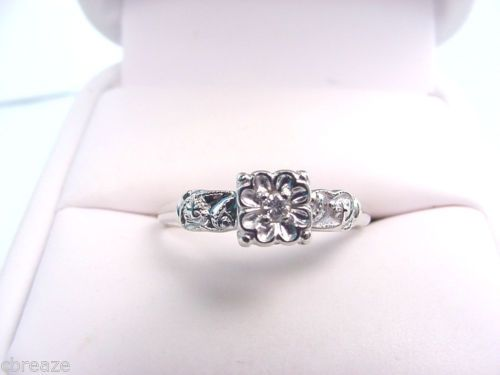 diamond vintage style 14k white gold engagement ring ebay - Wedding Rings Ebay