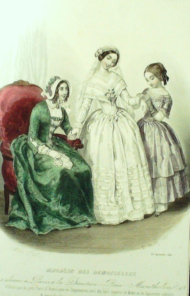 GRAVURE de MODE AUTHENTIQUE-M170-MAGASIN DEMOISELLES-ROBE DE MARIEE-1845