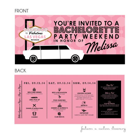 What happens in Vegas - Las Vegas Bachelorette Party Weekend Invitation with Itinerary on Etsy, $20.00