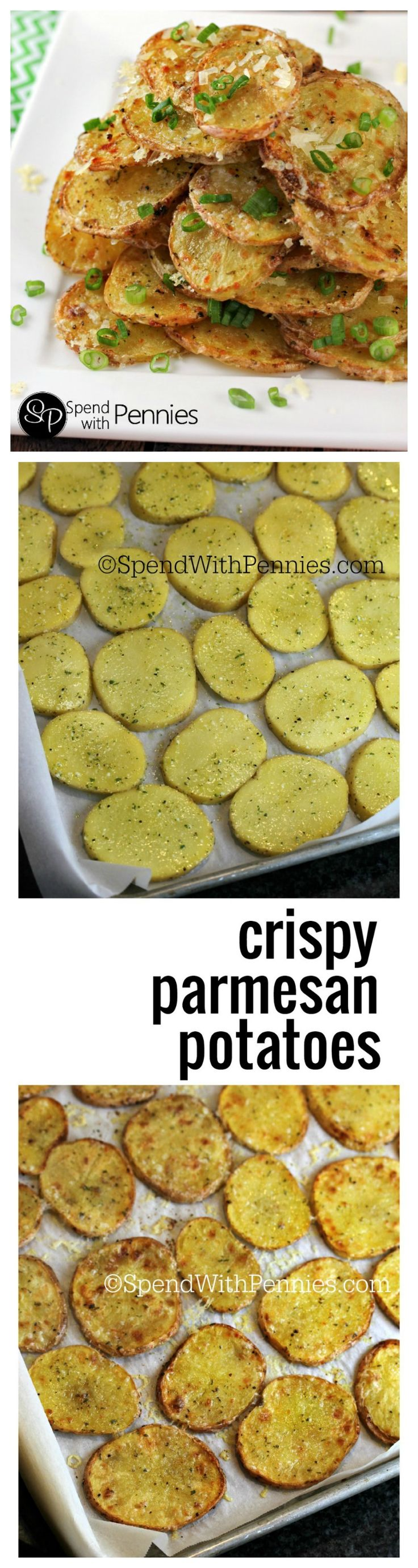 Crispy Parmesan Potatoes! These easy delicious potatoes make the perfect side or snack! #recipe