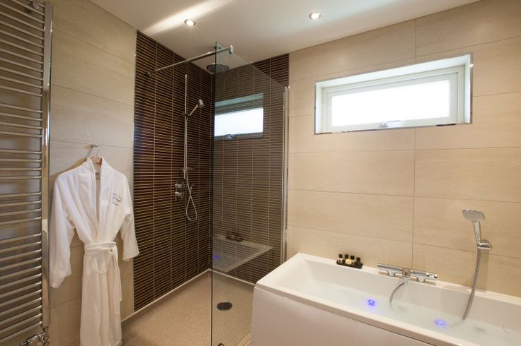The Straker Chalet - Main bathroom walk in shower, programmable mood lighting and Sonos sound system