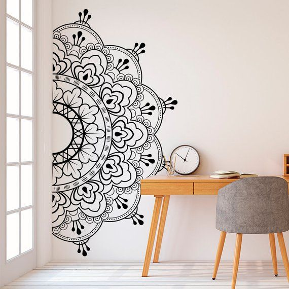 Mandala In Half Wall Sticker Wall Decal Decor For Home Studio Removable Vinyl Sticker For Medita Yoga Wall Art Wall Painting Decor Mandala Wall Art