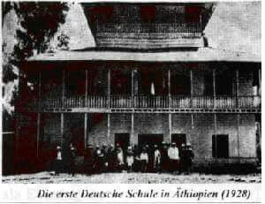 """Historical photo:- The first German School in Addis Ababa, Ethiopia 1928. (The school was founded by German Hermannsburg missionaries in 1926.)  In 1930, the school became part of the German-Lutheran Christ parish under the name """"Georg- Haccius School""""and in 1941 the school was closed."""