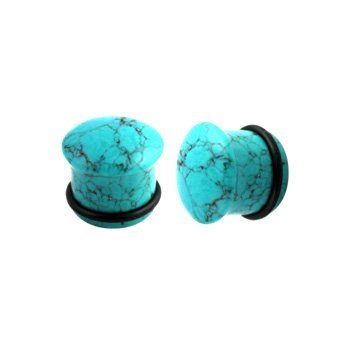 Turquoise Single Flared Plug made from Synthetic Stone with O-Ring - 2G (6mm) - Sold as a Pair WickedBodyJewelz - Plugs - Single Flare. $15.75