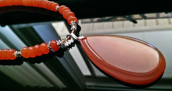Handcrafted Red Agate Gemstone Pendant Crystal Silver Necklace and earring set, $25.00