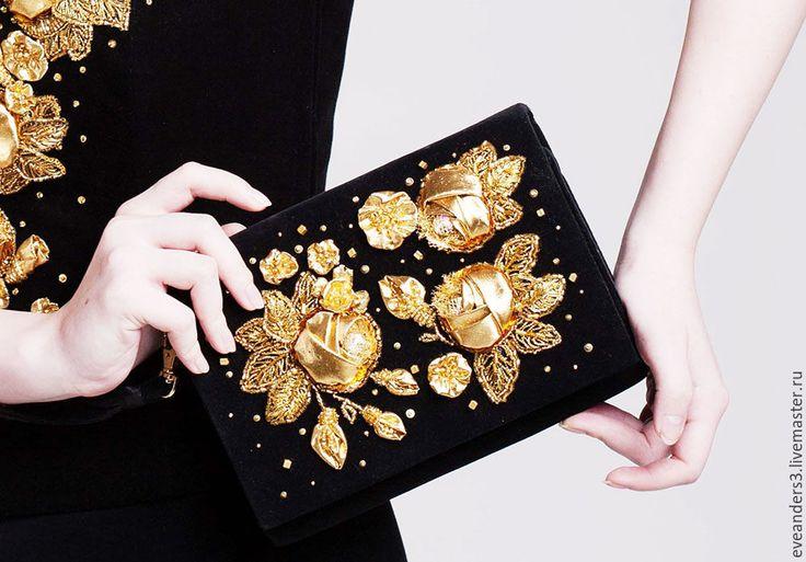 Купить SALE Клатч бархатный вышивка золотые розы - золотой, ручная вышивка, Вышивка бисером