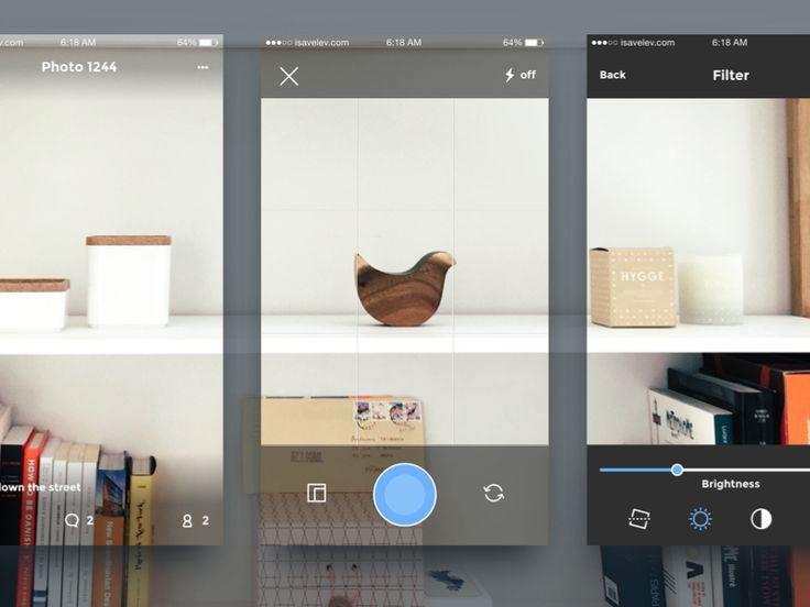Photo app mockups  Full case study  Follow team dribbble.com/isavelev  - - - - - - - - -  Behance  ·  Twitter  ·  Facebook  ·  isavelev.com  Buy this: