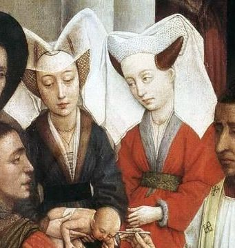 Seven Sacraments Altarpiece,c 1440 Rogier van der Weyden.The lady on left has a collar of sable  and the lady on right for squirrel