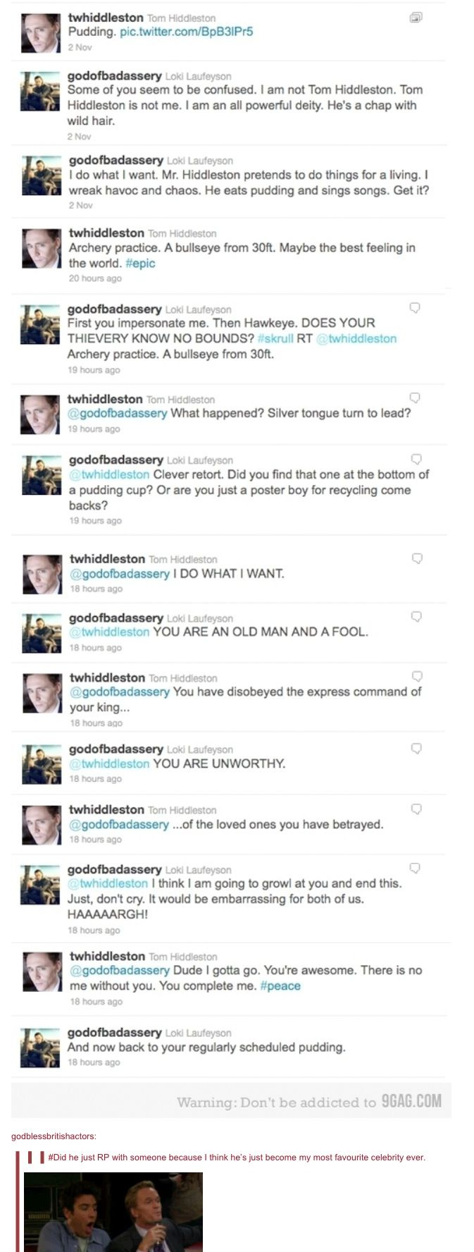 Hiddleston and Loki twitter fight...dear lord this