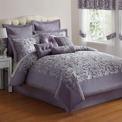 silver bed set 20 pc purple silver jacquard king size comforter 13148