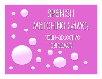 39 best spanish noun adjective agreement lesson activity ideas a matching card game to review noun adjective agreement in spanishthis includes matching platinumwayz