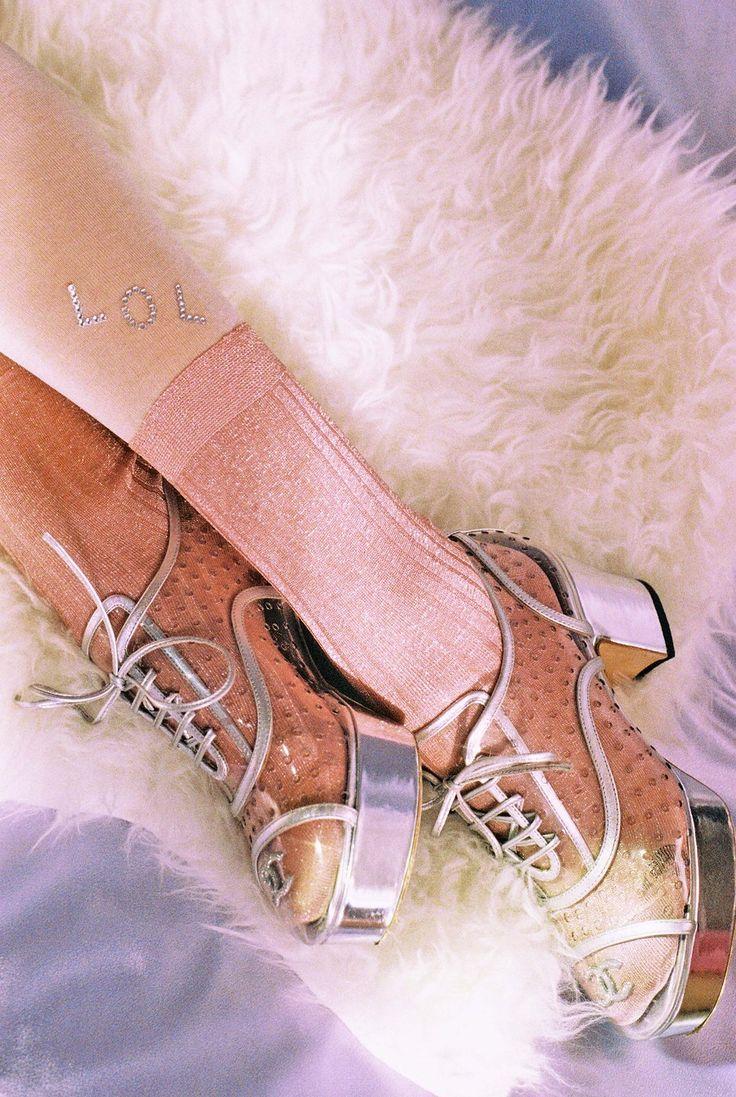 Chanel iridescent patent calfskin shoes