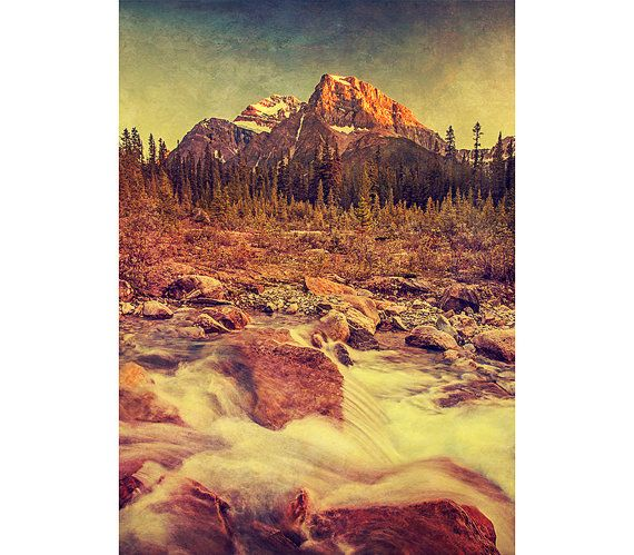 Mountain Photography - Vintage Decor, Banff, Landscape Image, Sunset, Rustic Texture, Wall Art, Warm Fall Colors, Decoration, Nature