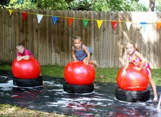 DIY backyard Wipeout water course for kids