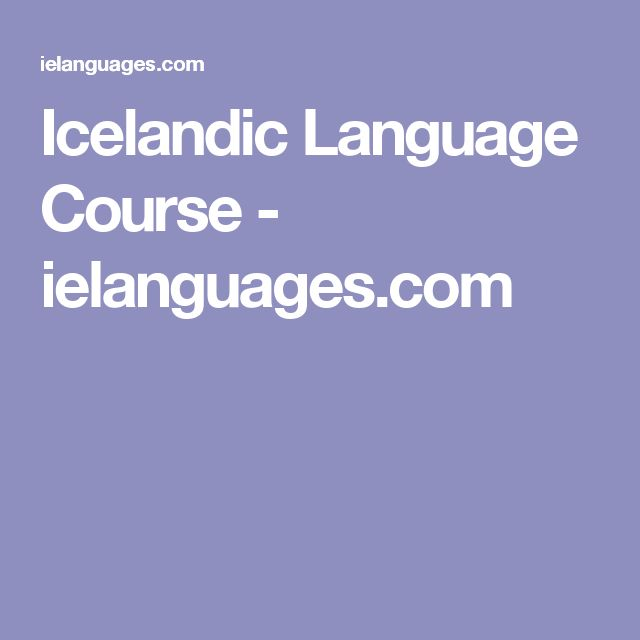 Icelandic Language Course - ielanguages.com