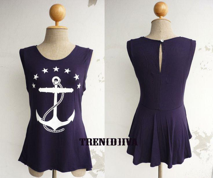 The Anchor Nautical Asymmetric Hem Women T-Shirt (Navy)