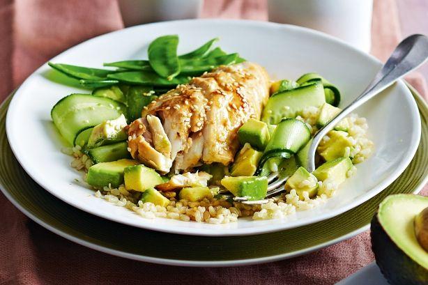 Miso-glazed fish with sesame brown rice salad main image
