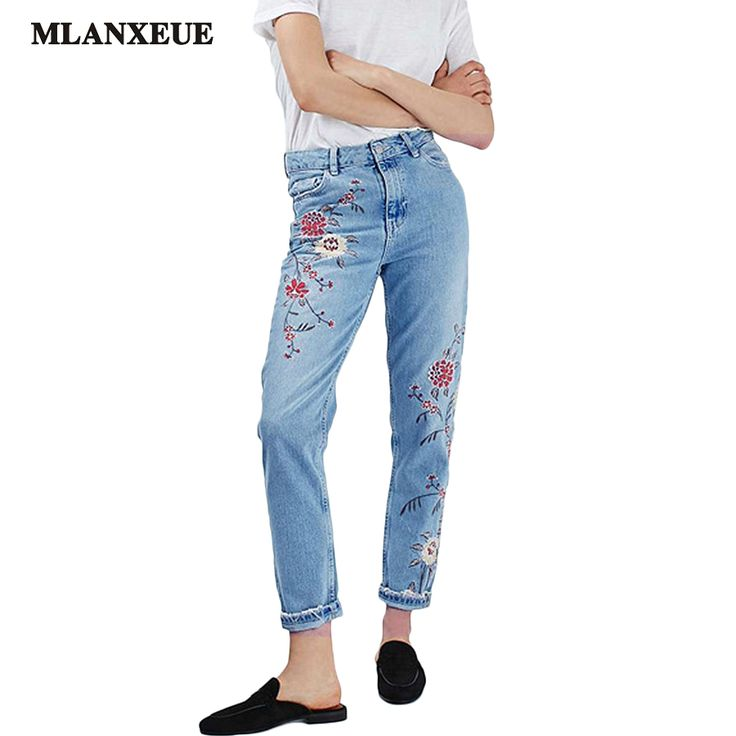 Denim Embroidery Flowers High Waist Jeans Woman Bottoms 2017 Summer High Waist Jeans Female Casual Light Blue Jeans Pants Women #Affiliate