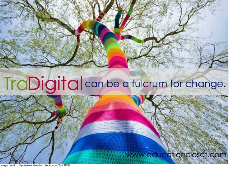 Moving between analog and digital #education.  Tradigital! From www.educationcloset.com