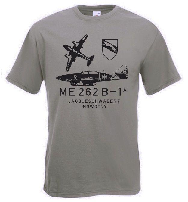 T-Shirt ME 262 B-1 Jagdgeschwader 7 Nowotny der deutschen Luftwaffe der Wehrmacht in der Farbe oliv. Die ME 262 war das erste Düsenflugzeug der Welt! / mehr Infos auf: www.Guntia-Militaria-Shop.de
