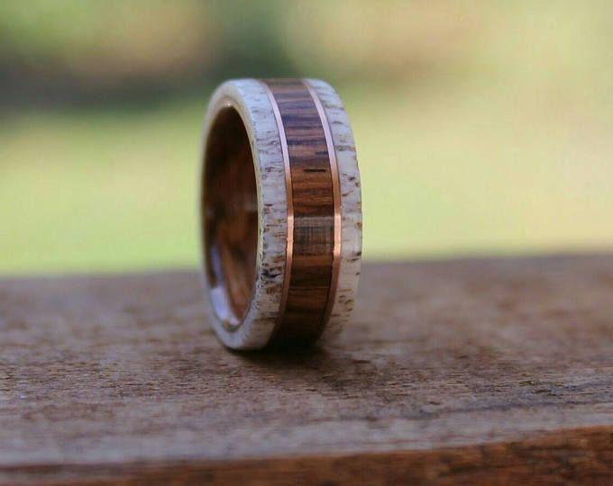 Featured listing image: Elk Antler Wood Ring - Honduran  Rosewood Antler Wedding Band Wood Ring  Wooden Ring Men Engagement Ring Woman Anniversary Ring