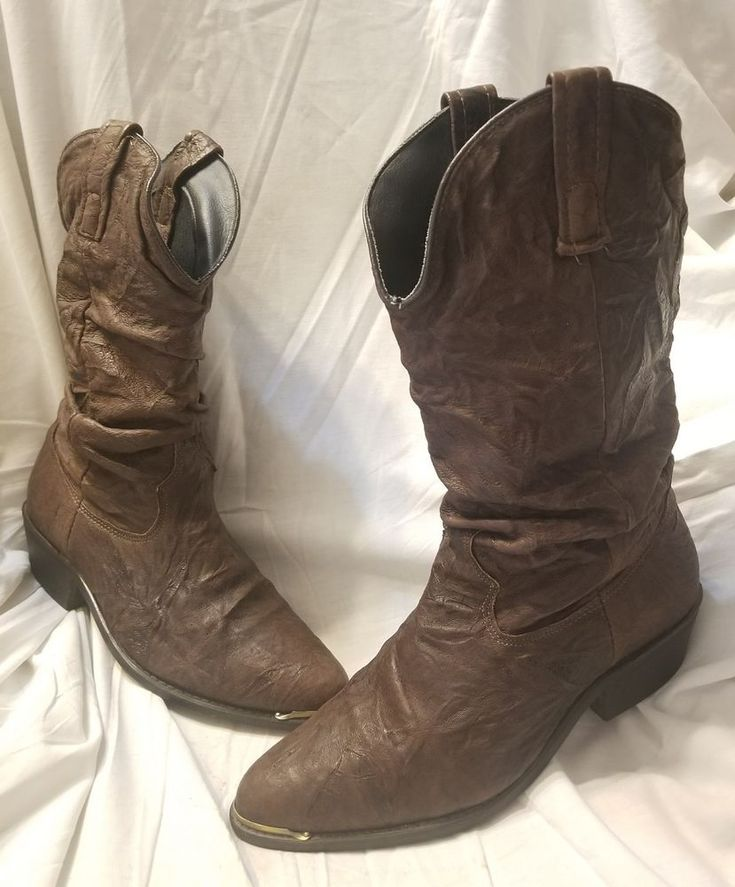 Dingo boots 6.5 D Slouch brown leather mid calf cowboy boot distressed leather #Dingo #CowboyWestern