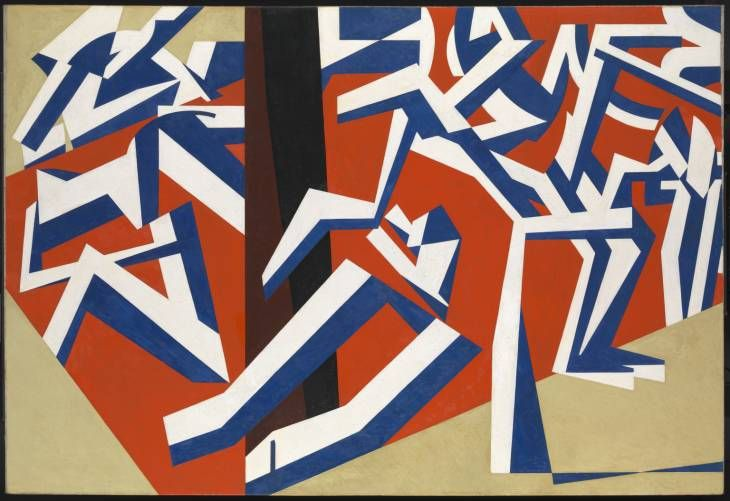 David Bomberg, The Mud Bath 1914, Oil on canvas    Bomberg, did work that linked to Vorticism, because he never saw himself as a Vorticist, he resisted being labelled to the group.   But he was associated with the Vorticists and accepted an invitation to show his work alongside them in 1915 in the first Vorticist exhibition.