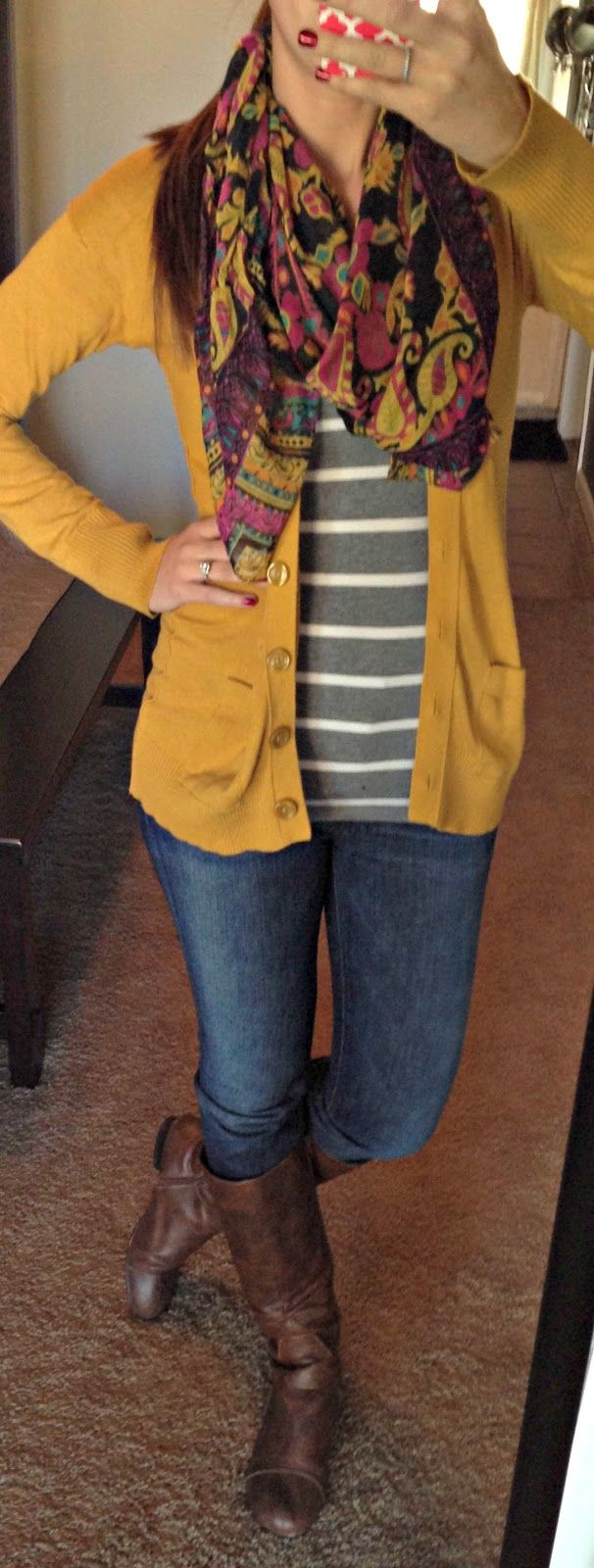 Mustard cardigan with gray striped sweater and boots