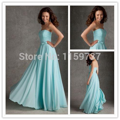 Нью-лонг шифоновое платье без бретелек голубой длиной до пола шифоновое платье линия новое поступление