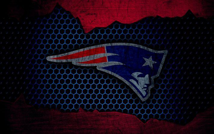 Download imagens New England Patriots, 4k, logo, NFL, futebol americano, AFC, EUA, grunge, textura de metal, Divisão Leste
