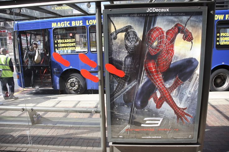 ClingZ for Backlit Signage - Bus Shelter Spiderman Sign https://davinci-technologies.com/product/clingz-wide-format-uv/