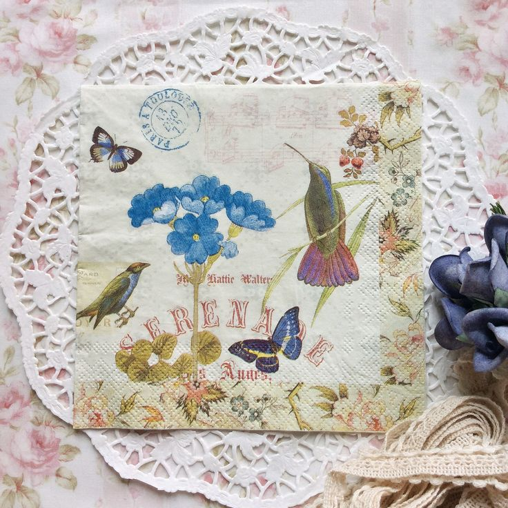 Napkin Papers Serviettens Decoupage Tissue  Cypress Bird and Butterfly 33x33 cm (1/4 folded)  IDR 15.000/pc Send me your inquiry to yufihandcrafted@gmail.com   Shabby Chic Victorian Cottage Vintage Retro Rose Floral Flower Paper Napkins   And get a special discount on bulk order!