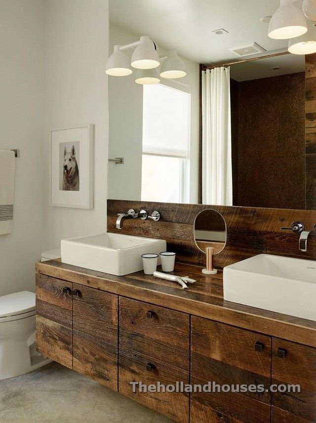 Rustic Modern Could This Get Anymore Gorgeous Its Not A True Master Bath Without His Hers Sinks