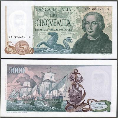 Collezione Personale di Banconote Italiane: 0.1.9. - 5000 LIRE COLOMBO II TIPO