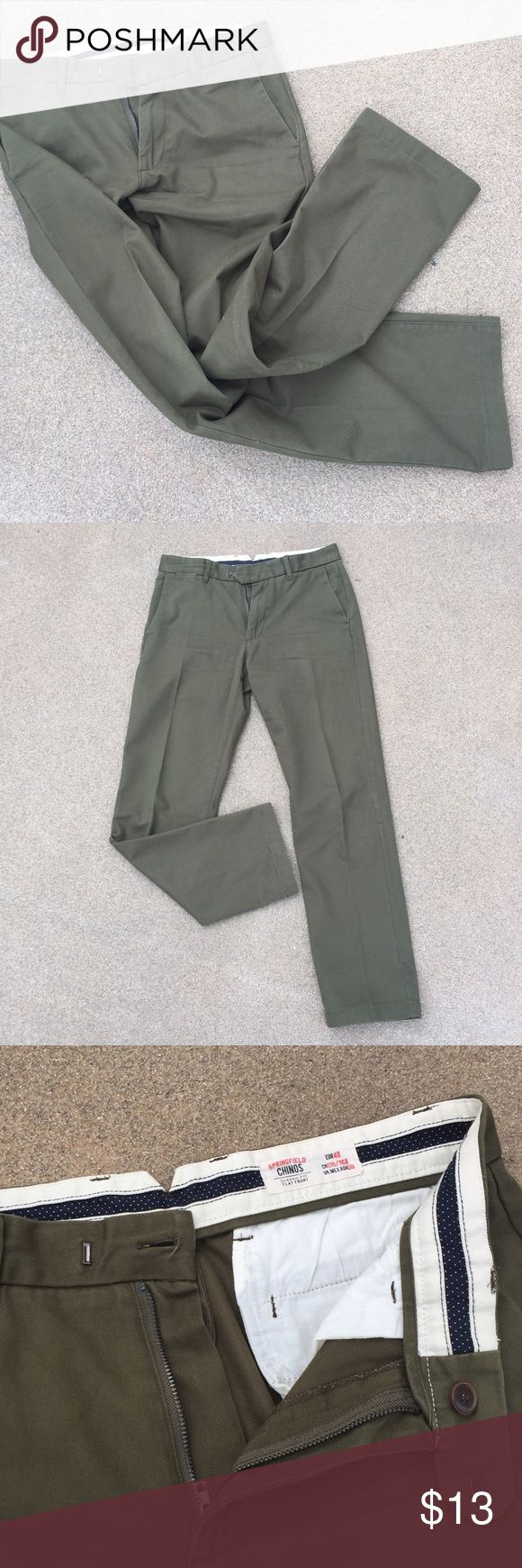 European Springfield's Men's Chino Pant - 30/30 Basic twill chino men's pants, size EU 40, US 30/30-31. Great pant to be dressed up with a sport coat or dressed down for a casual weekend. No stains. No smells. Great condition! They have been worn a few times, but they just don't fit anymore! Features 5 pockets, 2 side, 2 back, 1 small pocket near belt line. regular fit. Springfield Pants Chinos & Khakis