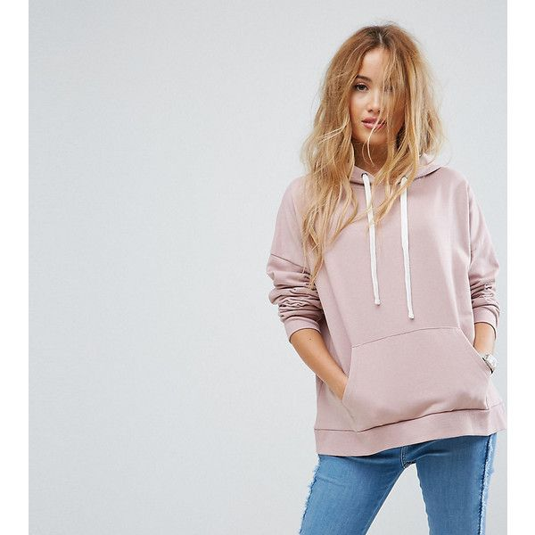 ASOS PETITE Boxy Hoodie (44 AUD) ❤ liked on Polyvore featuring tops, hoodies, petite, pink, hooded sweatshirt, petite tops, zip hoodie, tall hoodies and sweatshirt hoodies