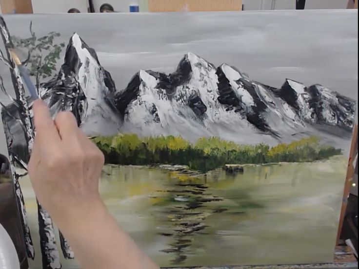Emerald Lake By Snowy Mountains In The Winter – Bob Ross Inspired, Acrylic Painting Timelapse