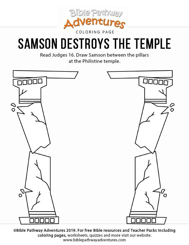 Samson Destroys The Temple Coloring Page Free Download Bible