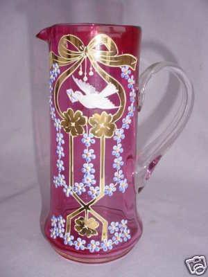 "Fab Cranberry Enamel Decor ""Dove"" Victorian Pitcher | eBay"