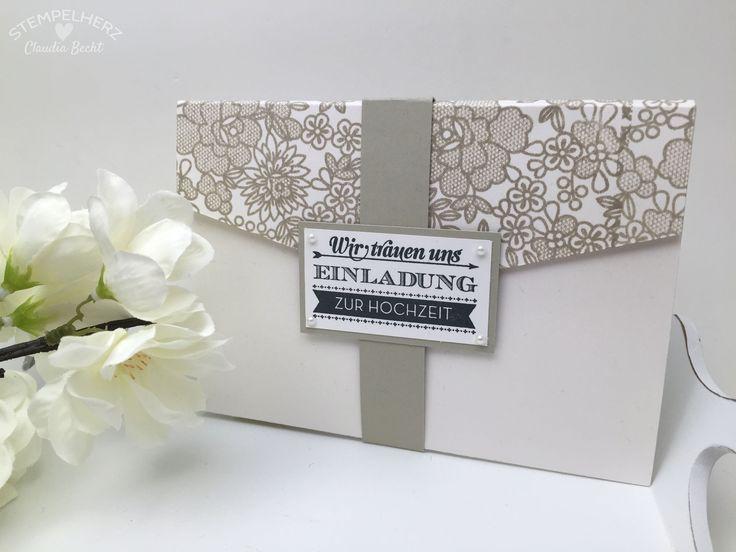 Stampin Up Stempelherz Hochzeitseinladung Hochzeitskarte Hochzeit Karte  Einladung Hochzeitseinladung