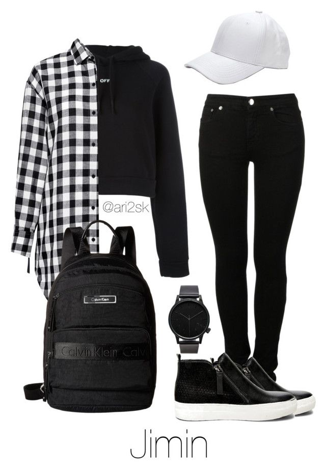"""""""Traveling with Jimin """" by ari2sk ❤ liked on Polyvore featuring MM6 Maison Margiela, Off-White, Steve Madden, IRO, Calvin Klein and Komono"""