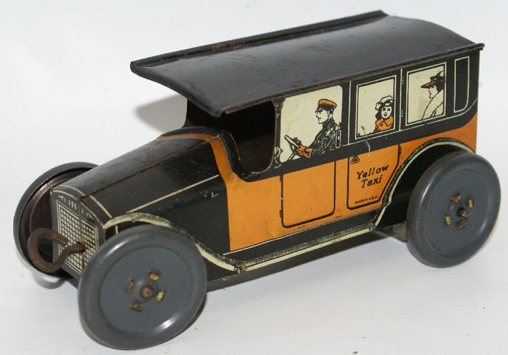 "RARE Vintage Tin Lithographed Clockwork Wind-up YELLOW TAXI Cab, made by Mohawk Toys. License plate reads 05-316. Lithography is nice and bright. Winds up from the front grill. Measures 6"" long. Has s"