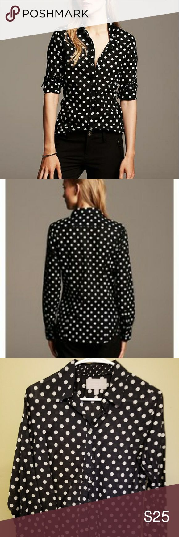 💖Banana Republic💖 Women's Polka Dot Oxford Shirt Banana Republic Soft Wash Dot Oxford Shirt. Wore a few times. Medium size. Banana Republic Tops Button Down Shirts